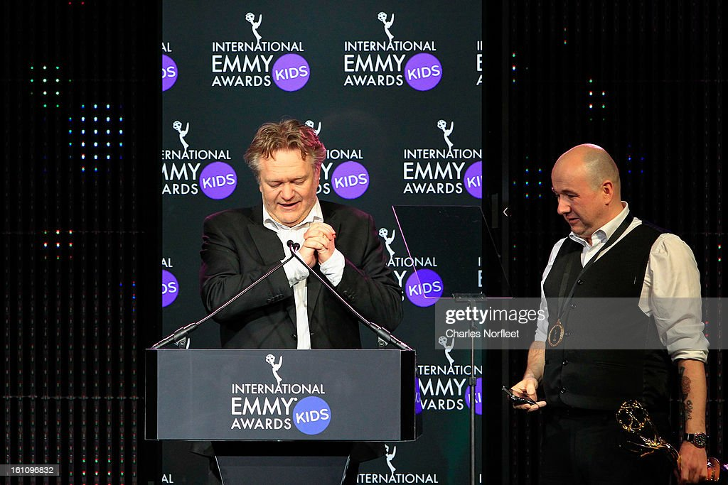 Executive producer Arild Halvorsen of Norway (L) and director Rune Saeterstol of Norway (R) accept the Kids: Non-Scripted Entertainment Emmy Award for 'Energy Survival' during The Inaugural International Emmy Kids Awards at The Lighthouse at Chelsea Piers on February 8, 2013 in New York City.