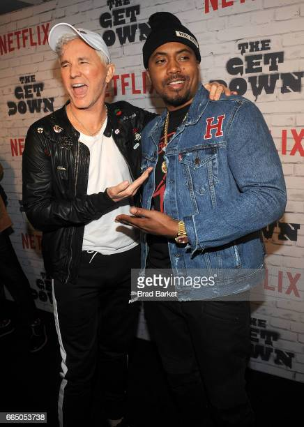 Executive Producer Baz Luhrmann and Nas attend 'The Get Down' Part 2 New York Kickoff Party at Irving Plaza on April 5 2017 in New York City