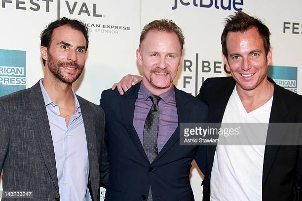 Executive producer Ben Silverman filmmaker Morgan Spurlock and executive producer Will Arnett attend 'Mansome' Premiere during the 2012 Tribeca Film...