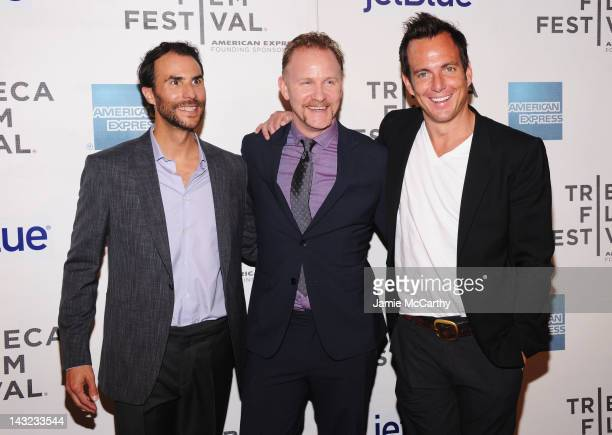 Executive producer Ben Silverman filmmaker Morgan Spurlock and executive producer Will Arnett walk the red carpet at the World Premiere Of Morgan...
