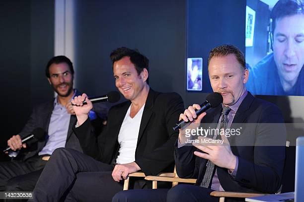 Executive producer Benjamin Silverman actor Will Arnett and filmmaker Morgan Spurlock speak during 'MANSOME' at Apple's 'Meet the Filmmakers' Session...