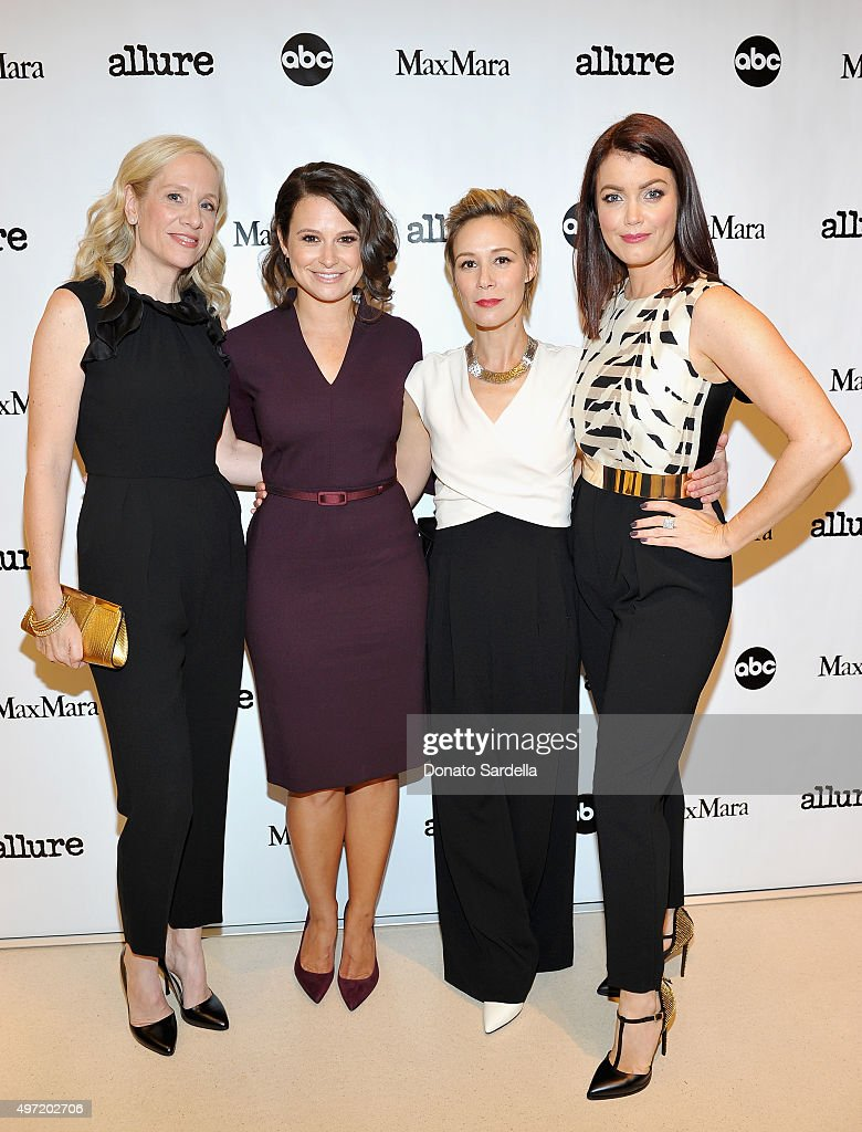 Executive producer Betsy Beers, actresses Katie Lowes, Liza Weil and Bellamy Young, all wearing MaxMara, attend 'MaxMara & Allure Celebrate ABC's #TGIT' at MaxMara on November 14, 2015 in Beverly Hills, California.