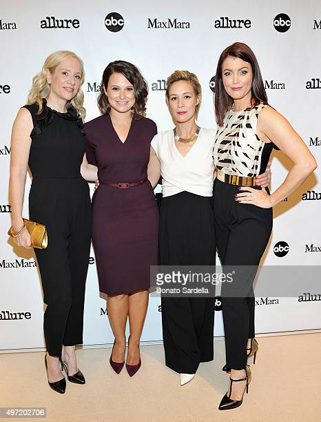 Executive producer Betsy Beers actresses Katie Lowes Liza Weil and Bellamy Young all wearing MaxMara attend 'MaxMara Allure Celebrate ABC's #TGIT' at...