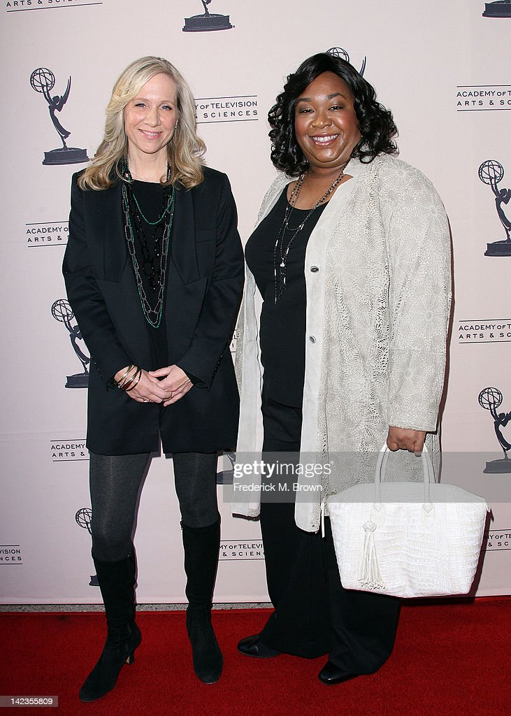 Executive producer Betsy Beers (L) and executive producer/writer Shonda Rhimes attend The Academy of Television Arts & Sciences Presents 'Welcome To ShondaLand: An Evening With Shonda Rhimes & Friends' at the Leonard H. Goldenson Theatre on April 2, 2012 in North Hollywood, California.