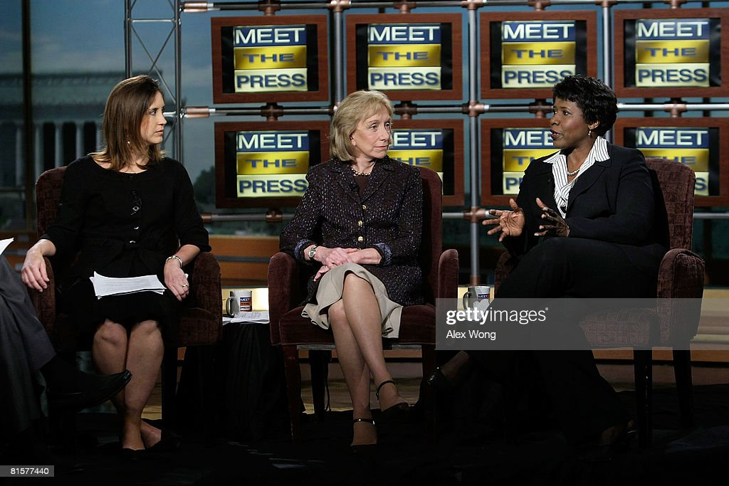 MTP Executive Producer Betsy Fischer, presidential historian Doris Kearns Goodwin, and Gwen Ifill of PBS appear on 'Meet the Press' during a taping in memory of the late moderator Tim Russert June 15, 2008 at the NBC studios in Washington, DC. Russert died June 13, 2008 of a heart attack while at the NBC bureau in Washington at the age of 58.
