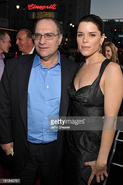 Executive producer Bob Weinstein and actress Neve Campbell arrive at the world premiere of The Weinstein Company's 'Scre4m' presented by AXE Shower...