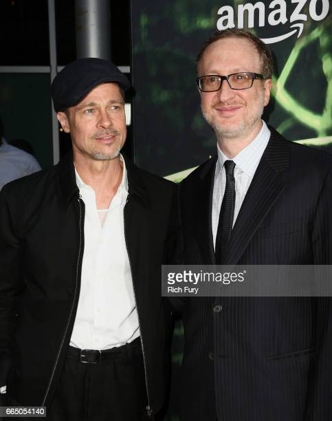 Executive producer Brad Pitt and writer/producer/director James Gray attend the premiere of Amazon Studios' 'The Lost City Of Z' at ArcLight...