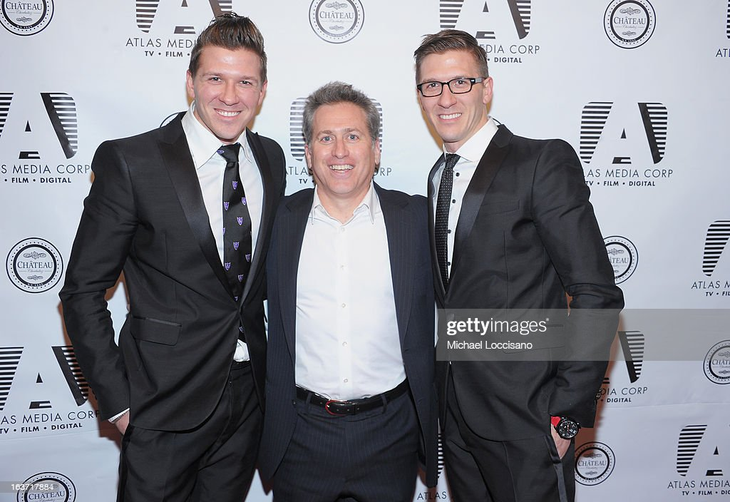 Executive Producer Bruce David Klein (C) and castmembers Daniel Koch (L) and brother Derek Koch attend the 'Playing With Fire' premiere at Chateau Cherbuliez on March 14, 2013 in New York City.