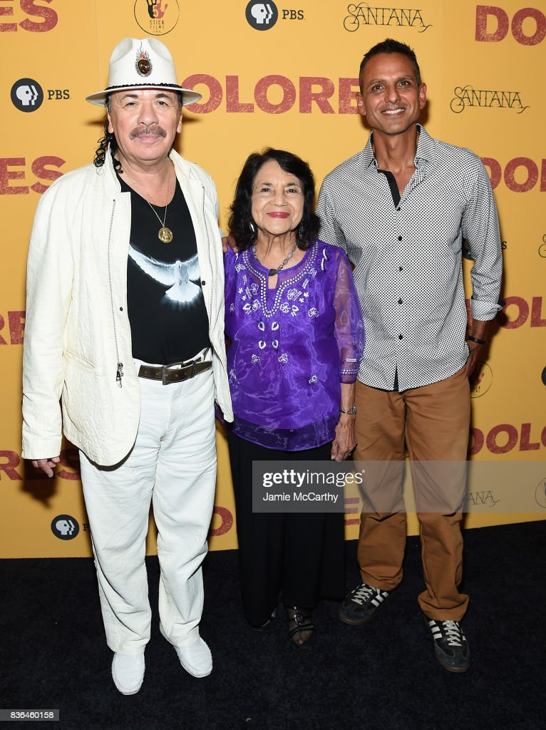 Executive Producer Carlos Santana, activist Dolores Huerta, and director Brian Bratt attend the 'Dolores' New York Premiere at The Metrograph on August 21, 2017 in New York City.