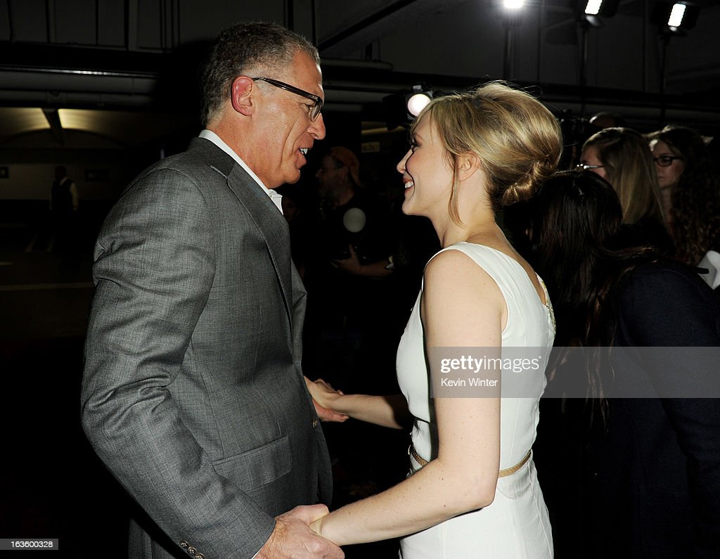 Executive Producer Carlton Cuse (L) and actress Vera Farmiga arrive at the premiere of A&E Network's 'Bates Motel' at Soho House on March 12, 2013 in West Hollywood, California.