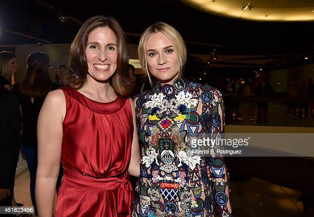 Executive Producer Carolyn Bernstein and actress Diane Kruger attend the premiere of FX's 'The Bridge' at Pacific Design Center on July 7 2014 in...