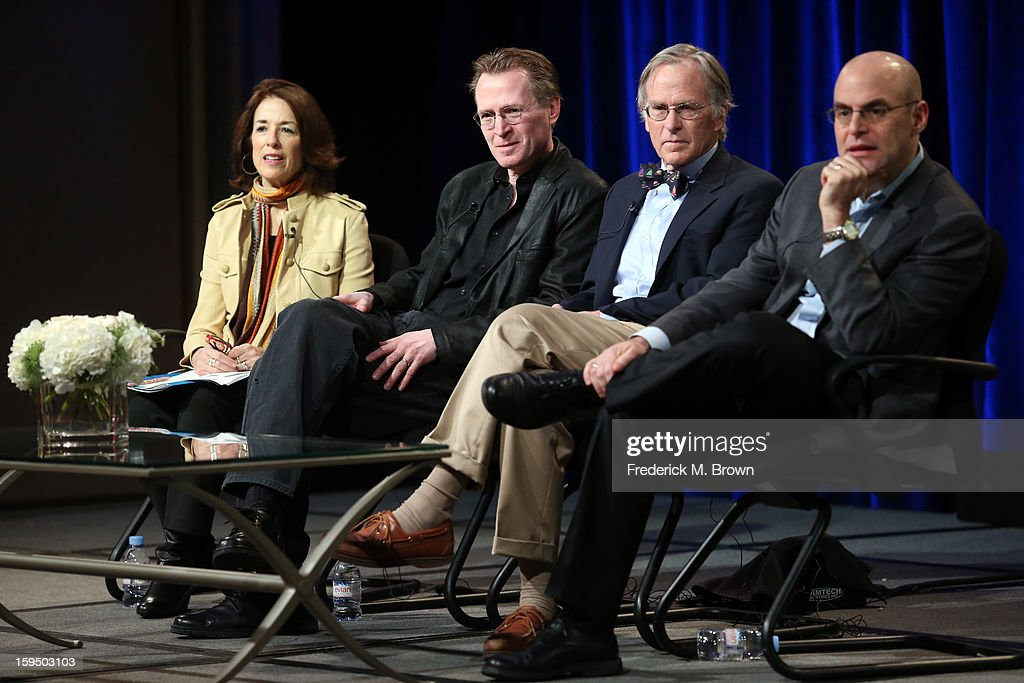 Executive Producer Catherine Allan, Director Stephen Ives, Dr. Richard Beeman and host Peter Sagal of 'Constitution USA' speak onstage during the PBS portion of the 2013 Winter Television Critics Association Press Tour at the Langham Huntington Hotel & Spa on January 14, 2013 in Pasadena, California.