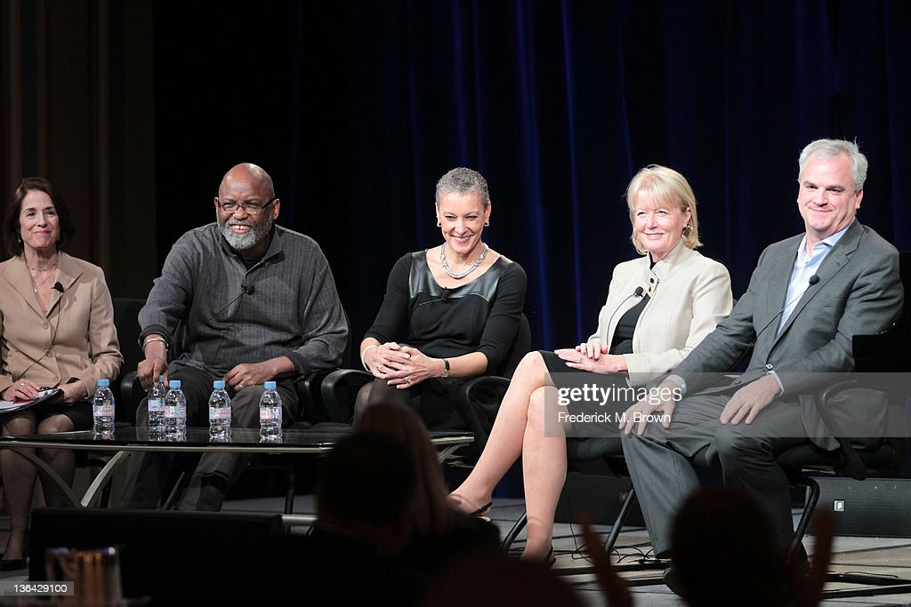 Executive Producer Catherine Allan, Filmmaker Samuel D. Pollard, Dr. Sharon Malone, Susan Tuggle Burnore and author Douglas A. Blackmon speak during the 'Slavery By Another Name' panel during the PBS portion of the 2012 Winter TCA Tour held at The Langham Huntington Hotel and Spa on January 4, 2012 in Pasadena, California.