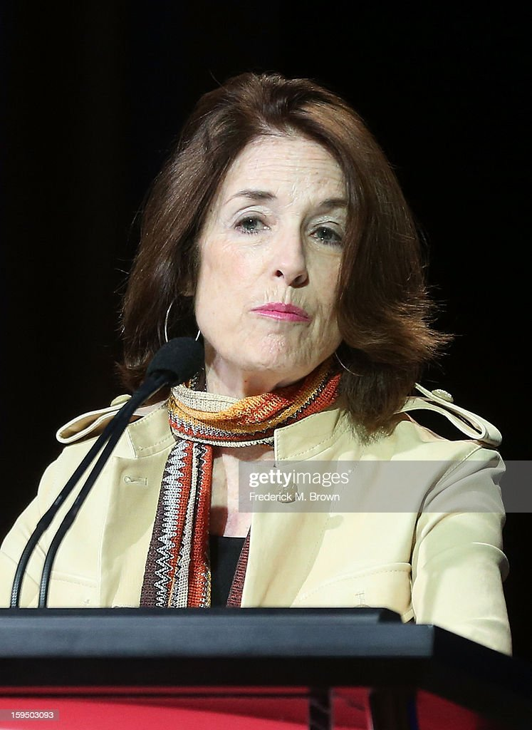 Executive Producer Catherine Allan of 'Constitution USA' speaks onstage during the PBS portion of the 2013 Winter Television Critics Association Press Tour at the Langham Huntington Hotel & Spa on January 14, 2013 in Pasadena, California.