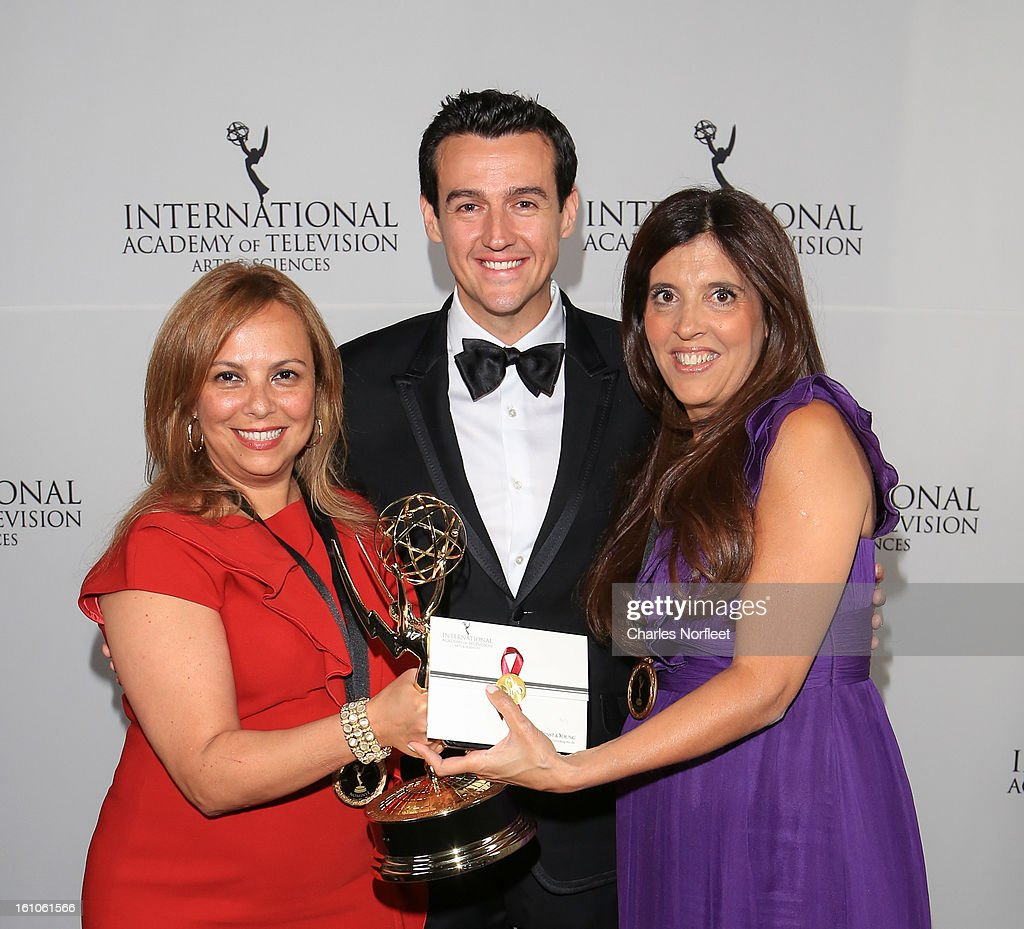 Executive Producer Cecilia Mendonca, presenter Sam Moran, and Executive Producer Maria Laura Moure with the Kids: Preschool Emmy Award for 'El Jardin de Clarilu' attend The Inaugural International Emmy Kids Awards at The Lighthouse at Chelsea Piers on February 8, 2013 in New York City.