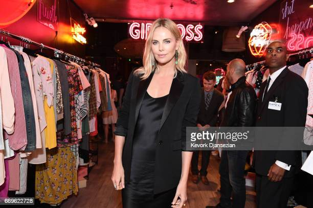 Executive producer Charlize Theron attends the after party for the premiere of Netflix's 'Girlboss' at Le Jardin on April 17 2017 in Hollywood...
