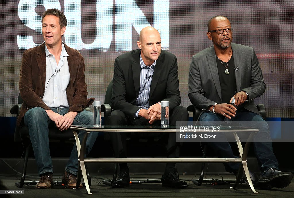 Executive Producer Chris Mundy and actors <a gi-track='captionPersonalityLinkClicked' href=/galleries/search?phrase=Mark+Strong&family=editorial&specificpeople=750895 ng-click='$event.stopPropagation()'>Mark Strong</a> and <a gi-track='captionPersonalityLinkClicked' href=/galleries/search?phrase=Lennie+James&family=editorial&specificpeople=740031 ng-click='$event.stopPropagation()'>Lennie James</a> speak onstage during the 'Low Winter Sun' panel discussion at the AMC portion of the 2013 Summer Television Critics Association tour - Day 3 at the Beverly Hilton Hotel on July 26, 2013 in Beverly Hills, California.