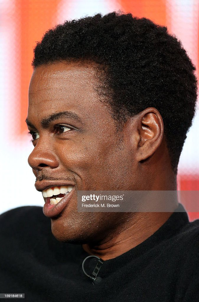 Executive producer Chris Rock of the television show 'Totally Biased with W. Kamau Bell' speaks during the FX Networks portion of the 2013 Winter Television Critics Association Winter Press Tour at the Langham Hotel and Spa on January 9, 2013 in Pasadena, California.