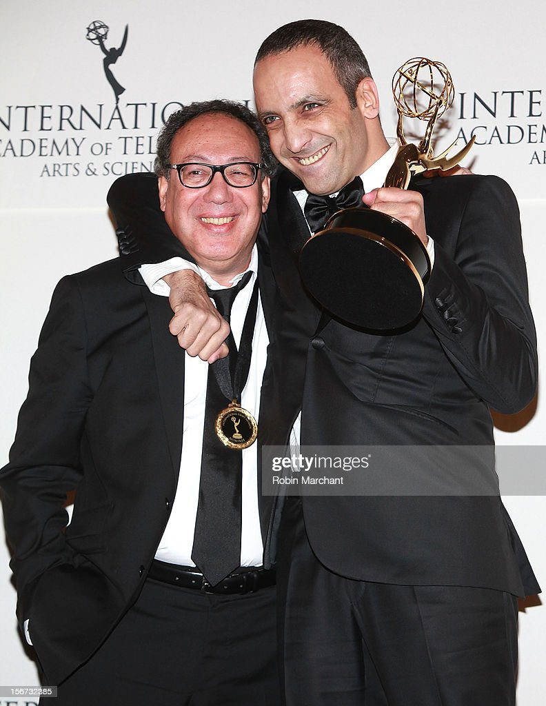 Executive producer Claude Chelli (L) and screenwriter Abdel Raouf Dafri attend the 40th International Emmy Awards on November 19, 2012 in New York City.