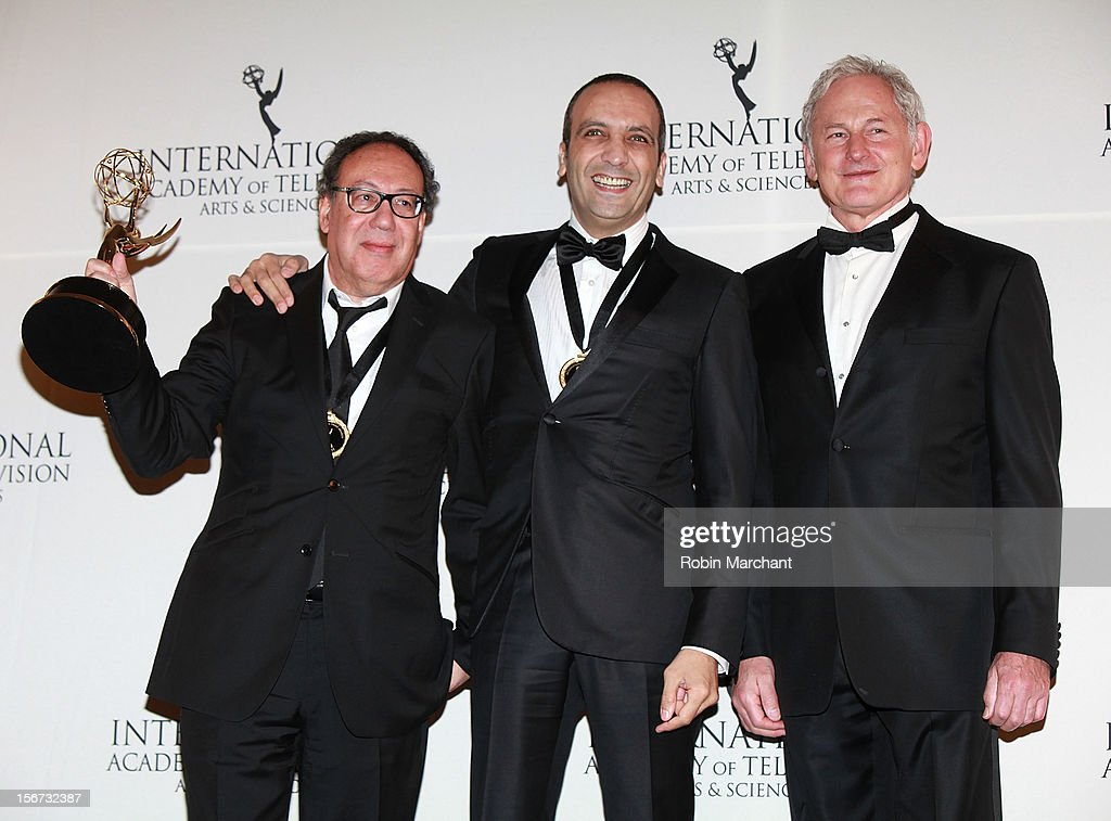Executive producer Claude Chelli, screenwriter Abdel Raouf Dafri and actor Victor Garber attend the 40th International Emmy Awards on November 19, 2012 in New York City.