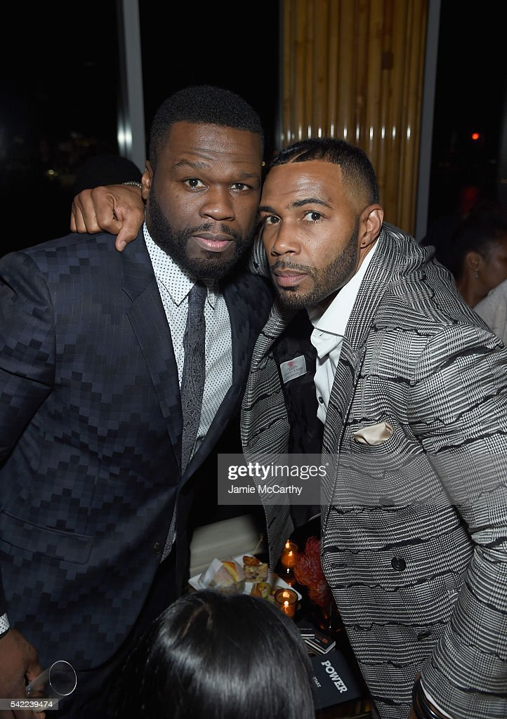 Executive producer Curtis Jackson and actor Omari Hardwick attend the STARZ 'Power' New York season three premiere after party at the Top of the...