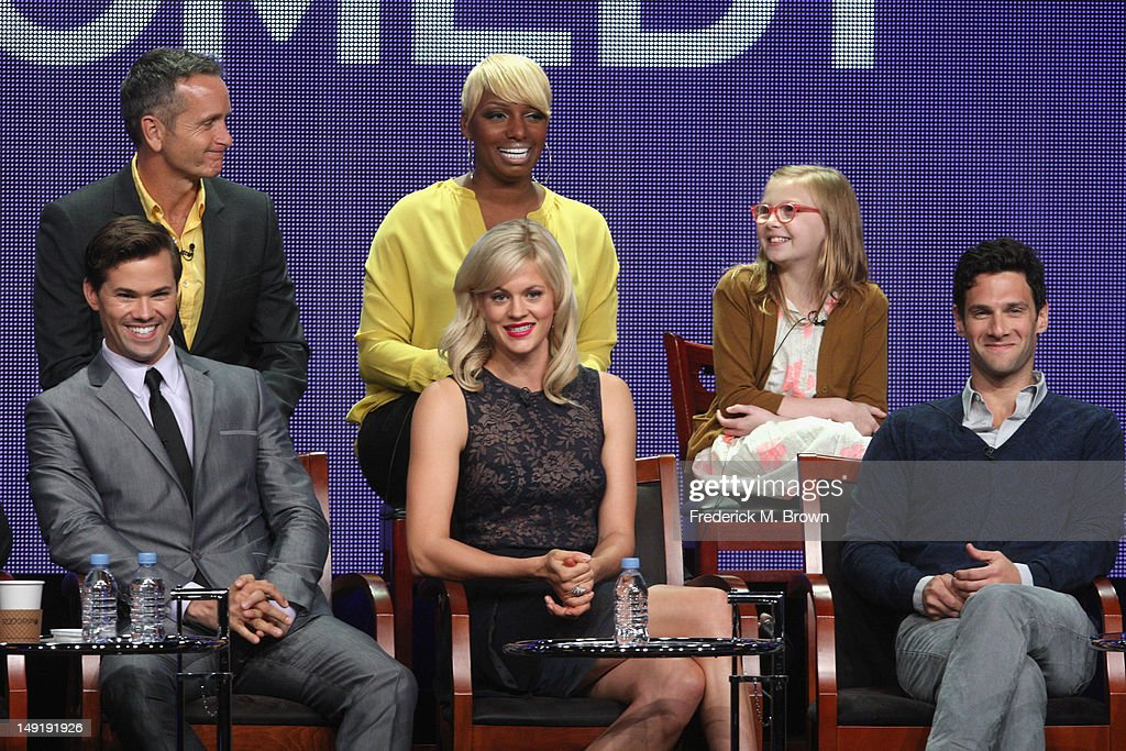 Executive Producer Dante Di Loreto and actresses Nene Leakes Bebe Wood Actors Andrew Rannells Georgia King and Justin Bartha speak onstage at 'The...