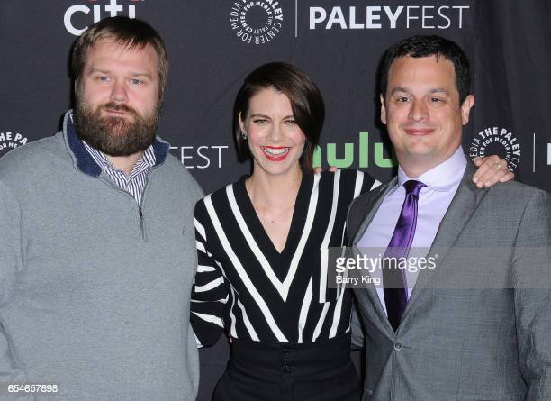 Executive producer Dave Alpert actress Lauren Cohan and executive producer Robert Kirkman arrive at the Paley Center For Media's 34th Annual...