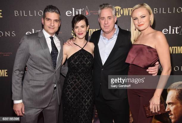 Executive producer David Levien actress Carla Gugino executive producer Brian Koppelman and actress Malin Akerman attend the 'Billions' Season 2...
