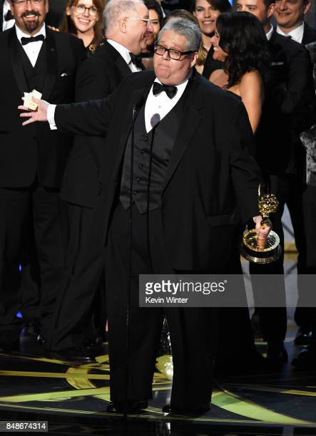 Executive producer David Mandel accepts Outstanding Comedy Series for 'Veep' onstage during the 69th Annual Primetime Emmy Awards at Microsoft...