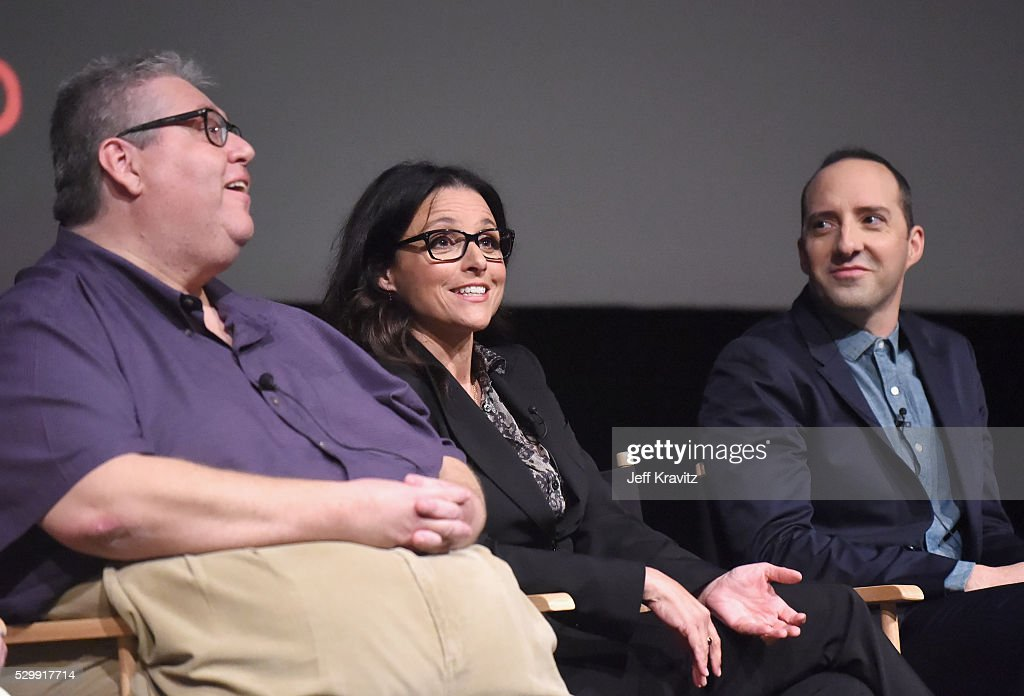 Executive producer David Mandel, actors Julia Louis-Dreyfus and Tony Hale speak onstage during the 'VEEP' FYC panel at Paramount Studios on May 9, 2016 in Hollywood City.