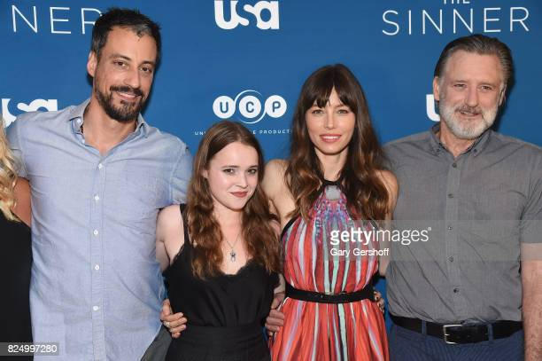 Executive producer Derek Simonds and actors Nadia Alexander Jessica Biel and Bill Pullman attend 'The Sinner' series premiere screening at Crosby...