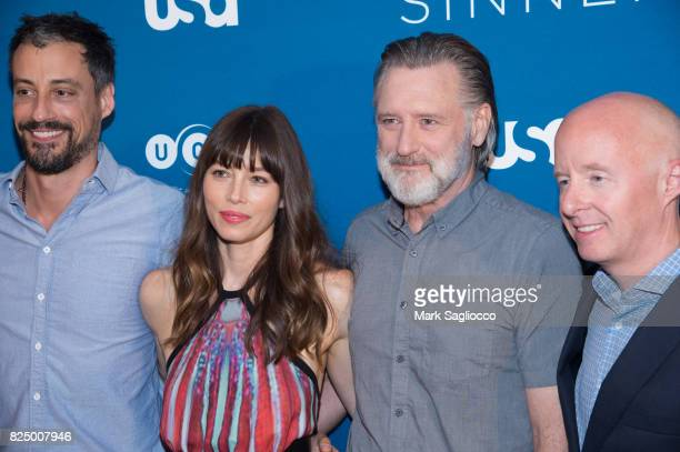 Executive Producer Derek Simonds Jessica Biel Bill Pullman and NBC Entertainment Networks President Chris McCumber attend the 'The Sinner' Series...