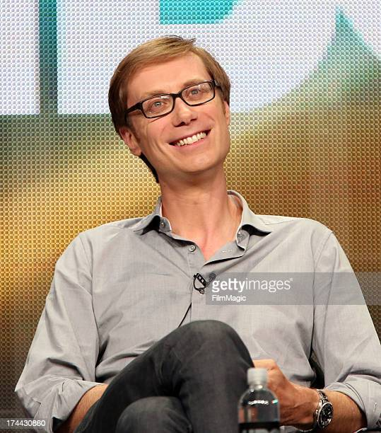 Executive producer director and actor Stephen Merchant speaks onstage at the 'Hello Ladies' panel discussion during the HBO portion of the 2013...
