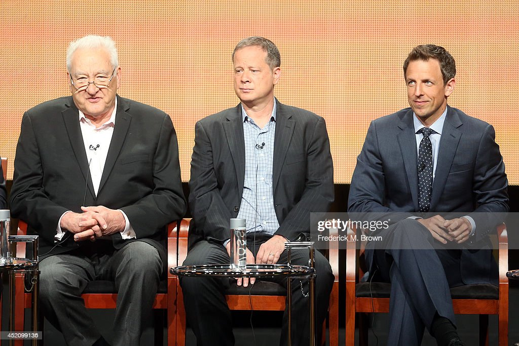 Executive producer Don Mischer, Emmy's writer and producer of 'Late Night With Seth Meyers' Mike Shoemaker, Emmy host Seth Meyers speak onstage at the 'The 66th Primetime Emmy Awards' panel during the NBCUniversal portion of the 2014 Summer Television Critics Association at The Beverly Hilton Hotel on July 13, 2014 in Beverly Hills, California.