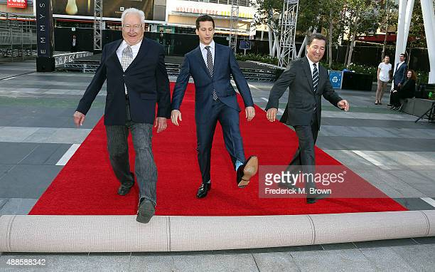 Executive producer Don Mischer host Andy Samberg and Television Academy Chairman/CEO Bruce Rosenblum attend the 67th Annual Primetime Emmy Awards...