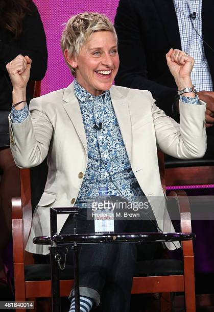 Executive producer Ellen DeGeneres speaks onstage during the 'One Big Happy' panel discussion at the NBC/Universal portion of the 2015 Winter TCA...