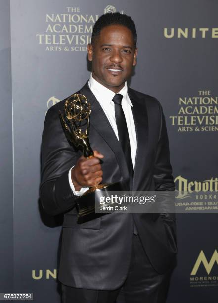 Executive Producer for 'Give' Blair Underwood displays his Emmy Award at the 44th Annual Daytime Creative Arts Emmy Awards Press Room at Pasadena...