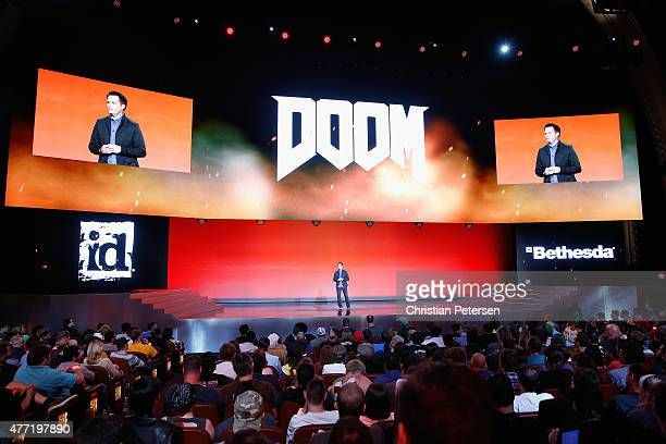 Executive Producer for Id Software Marty Stratton speaks about 'Doom' during the Bethesda E3 2015 press conference at the Dolby Theatre on June 14...