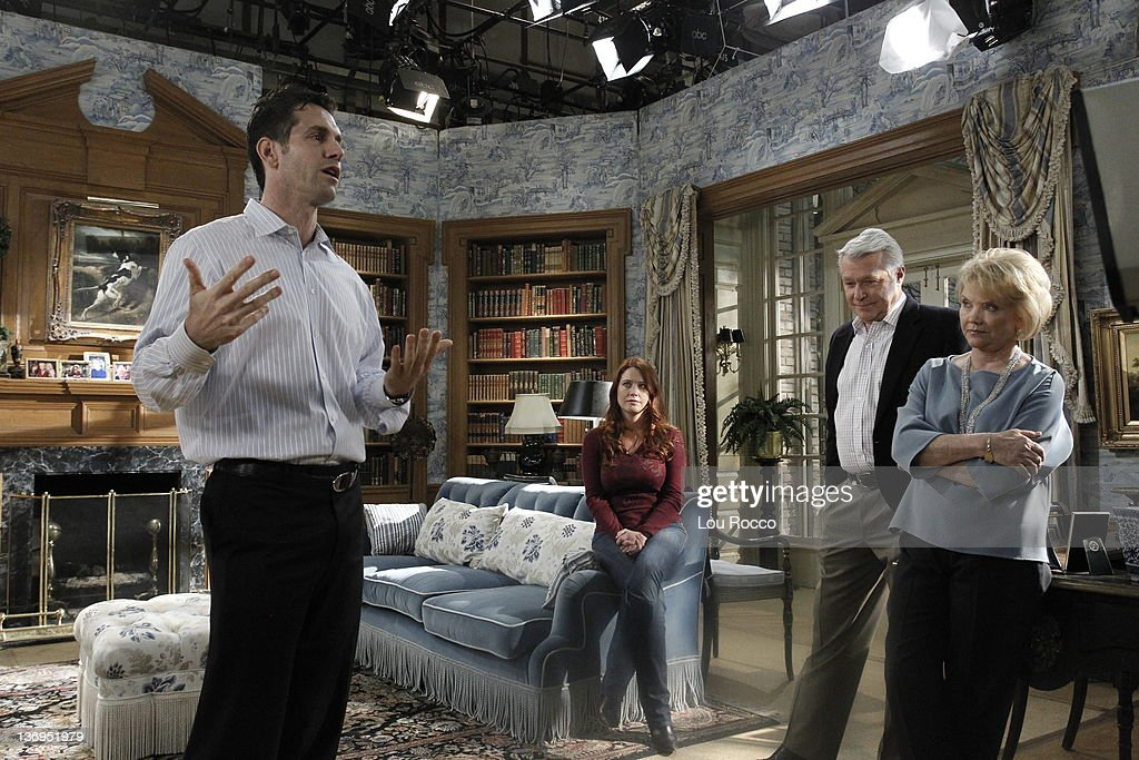 LIVE - Executive producer Frank Valentini, Melissa Archer (Natalie), Jerry verDorn (Clint) and Erika Slezak (Viki) in a scene that airs the week of January 9, 2012 on ABC Daytime's 'One Life to Live.' 'One Life to Live' airs Monday-Friday (2:00 p.m. - 3:00 p.m., ET) on the ABC Television Network. , MELISSA ARCHER, JERRY VERDORN, ERIKA SLEZAK