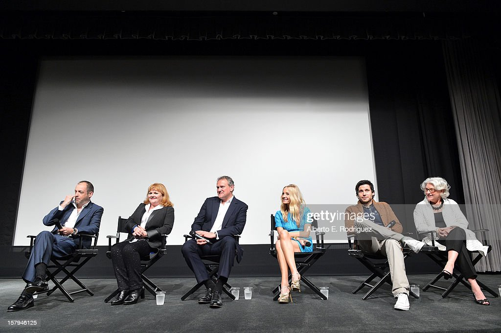 Executive Producer Gareth Neame, actors Lesley Nicol, Hugh Bonneville, Joanne Froggatt, Rob James-Collier and executive producer, Masterpiece, Rebecca Eaton participate in the Q&A session as part of The Hollywood Reporter screening of PBS Masterpiece's 'Downton Abbey' Season 3 on December 7, 2012 in West Hollywood, California.