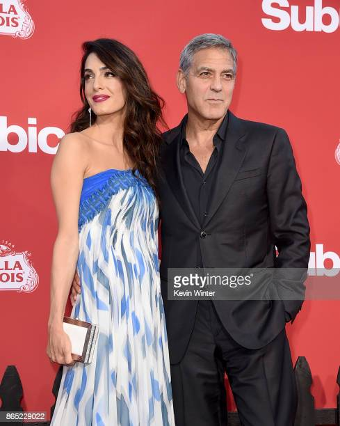 Executive producer George Clooney and his wife Amal Clooney arrive at the premiere of Paramount Pictures' 'Suburbicon' at the Village Theatre on...