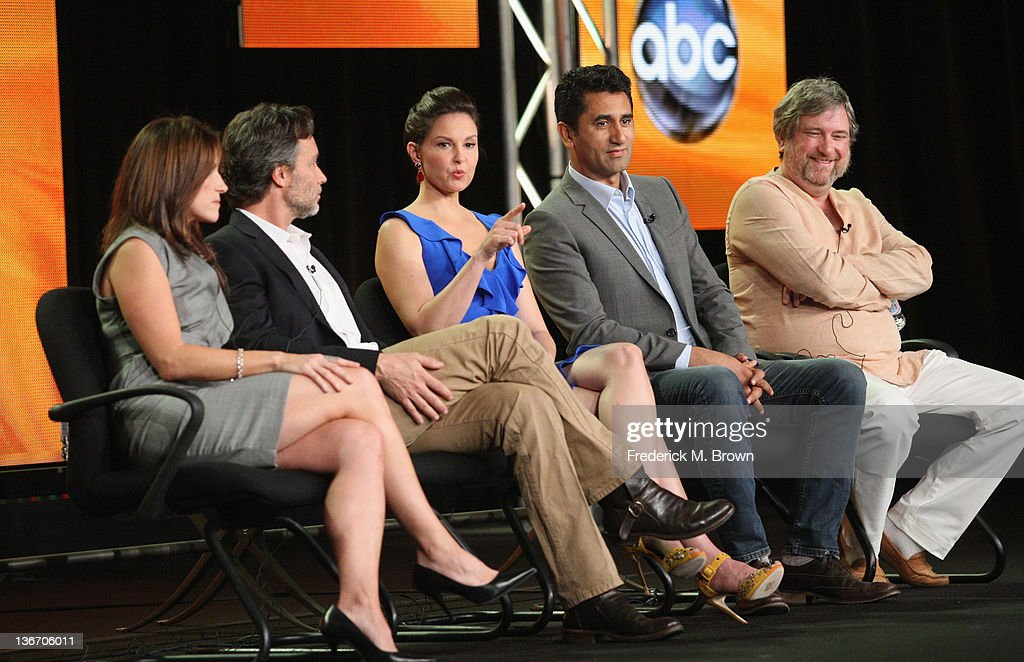 Executive Producer Gina Matthews, Writer/ Executive Producer Grant Scharbo, actors Ashley Judd, Cliff Curtis and Creator and Executive Producer Gregory Poirier speak during the 'Missing' panel during the ABC portion of the 2012 Winter TCA Tour held at The Langham Huntington Hotel and Spa on January 10, 2012 in Pasadena, California.