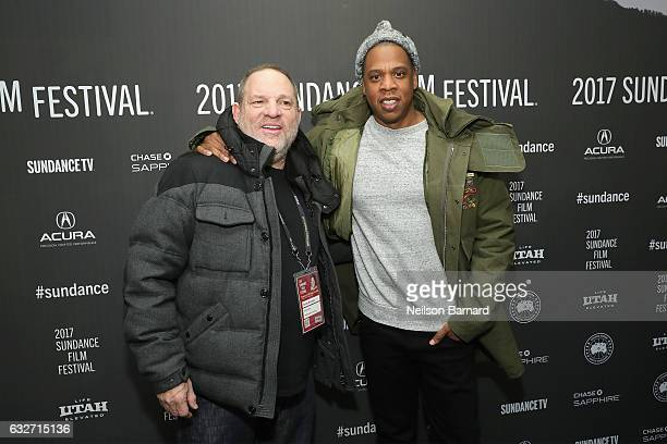 Executive Producer Harvey Weinstein and executive producer and rapper Shawn 'JayZ' Carter attend the 'TIME The Kalief Browder Story' Sundance World...