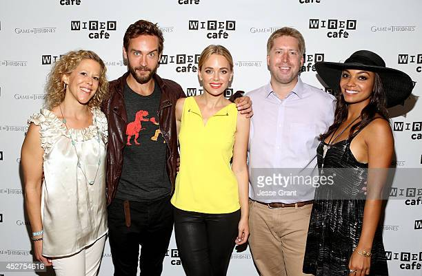 Executive producer Heather Kadin actor Tom Mison actress Katia Winter Aaron Baiers and actress Lyndie Greenwood attend day 3 of the WIRED Cafe @...