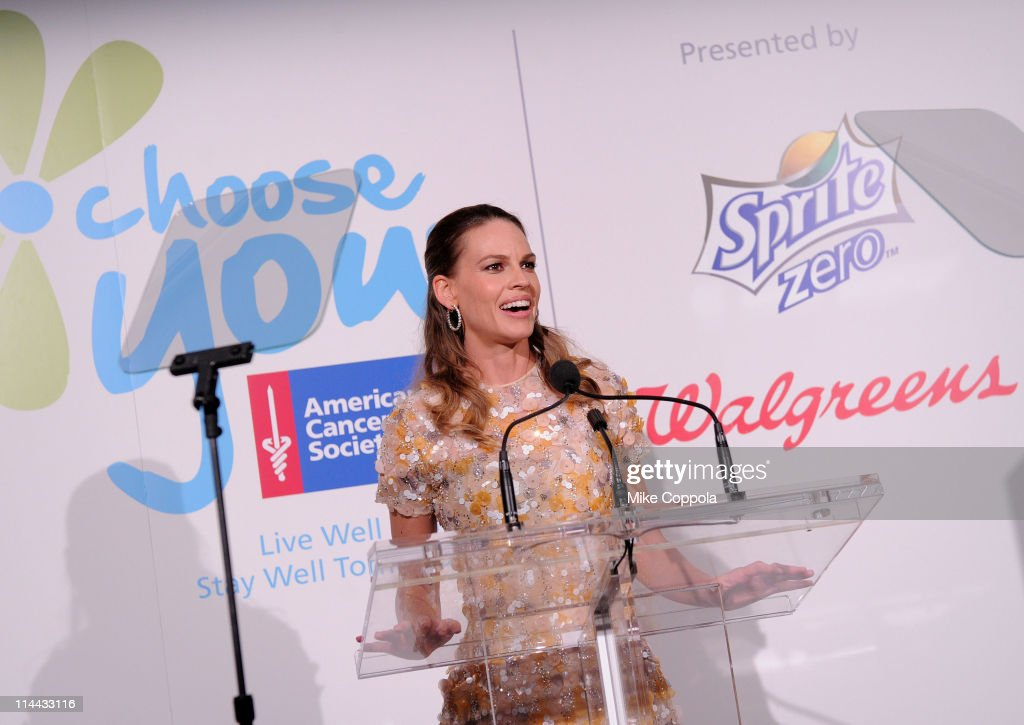Executive Producer <a gi-track='captionPersonalityLinkClicked' href=/galleries/search?phrase=Hilary+Swank&family=editorial&specificpeople=201692 ng-click='$event.stopPropagation()'>Hilary Swank</a> speaks at preview of the first ever 'Choose You' documentary, created by Executive Producer <a gi-track='captionPersonalityLinkClicked' href=/galleries/search?phrase=Hilary+Swank&family=editorial&specificpeople=201692 ng-click='$event.stopPropagation()'>Hilary Swank</a>, alongside 2S Films and Go Go Luckey Entertainment, in colaboration with The American Cancer Society at Metropolitan Pavilion on May 19, 2011 in New York City.