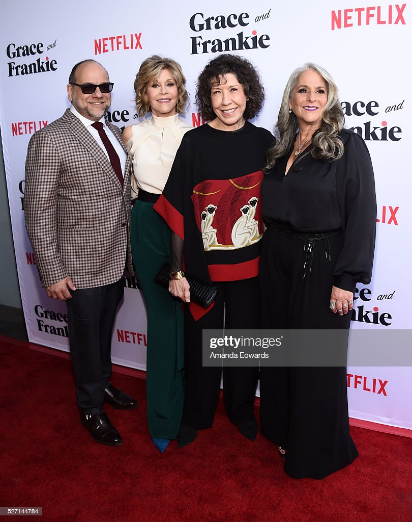 Executive producer Howard J. Morris, actresses Jane Fonda and Lily Tomlin and executive producer Marta Kauffman arrive at the Netflix Original Series 'Grace & Frankie' Season 2 premiere at the Harmony Gold Theater on May 1, 2016 in Los Angeles, California.