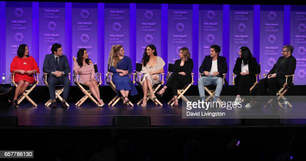 Executive producer I Marlene King actors Ian Harding Janel Parrish Sasha Pieterse Shay Mitchell Ashley Benson Tyler Blackburn and Andrea Parker and...
