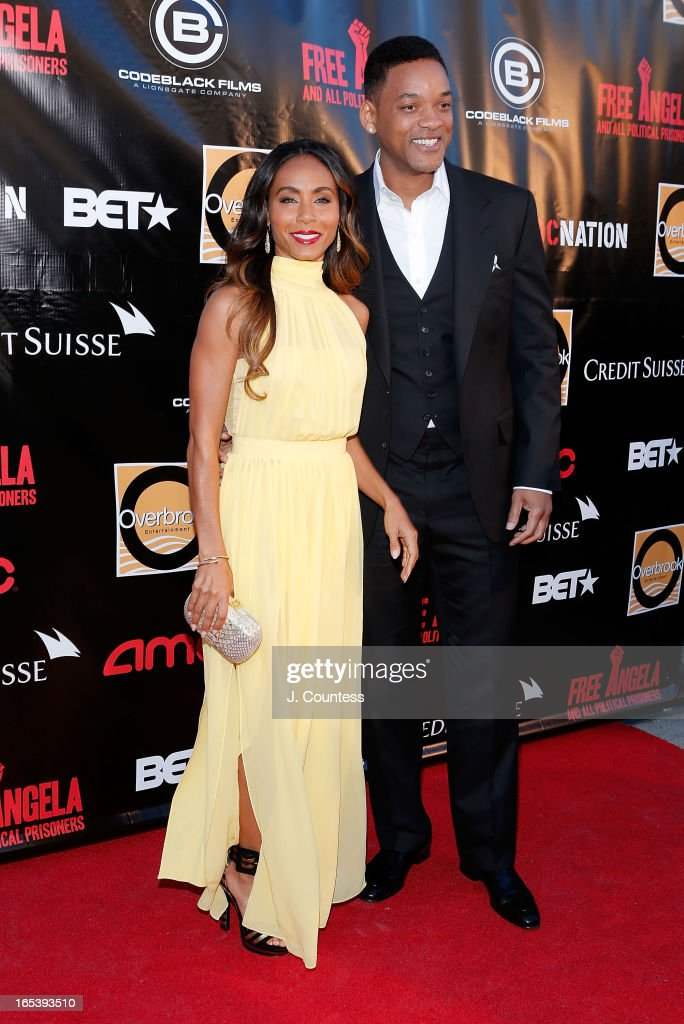 Executive producer <a gi-track='captionPersonalityLinkClicked' href=/galleries/search?phrase=Jada+Pinkett+Smith&family=editorial&specificpeople=201837 ng-click='$event.stopPropagation()'>Jada Pinkett Smith</a> and actor/rapper <a gi-track='captionPersonalityLinkClicked' href=/galleries/search?phrase=Will+Smith&family=editorial&specificpeople=156403 ng-click='$event.stopPropagation()'>Will Smith</a> attend 'Free Angela and All Political Prisoners' New York Premiere at The Schomburg Center for Research in Black Culture on April 3, 2013 in New York City.