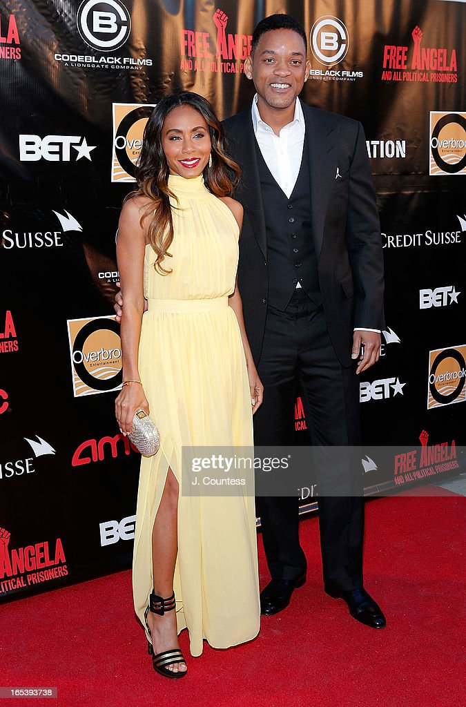 Executive producer Jada Pinkett Smith and actor/rapper Will Smith attend 'Free Angela and All Political Prisoners' New York Premiere at The Schomburg Center for Research in Black Culture on April 3, 2013 in New York City.