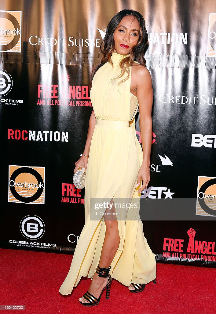 Executive producer <a gi-track='captionPersonalityLinkClicked' href=/galleries/search?phrase=Jada+Pinkett+Smith&family=editorial&specificpeople=201837 ng-click='$event.stopPropagation()'>Jada Pinkett Smith</a> attends 'Free Angela and All Political Prisoners' New York Premiere at The Schomburg Center for Research in Black Culture on April 3, 2013 in New York City.
